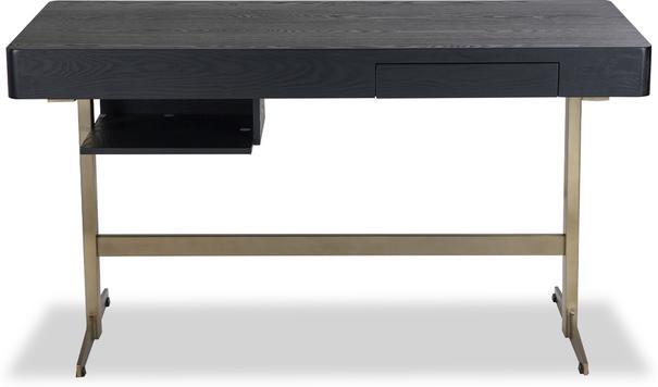 Omega Black Ash Desk One Drawer with Brass Frame image 2