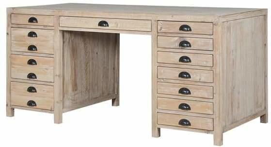 Large Twelve Drawer Natural Pine Desk