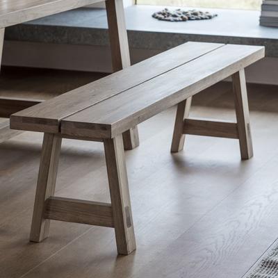 Kielder Oak Simple Wooden Bench image 2