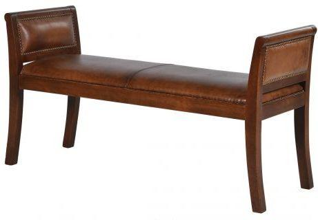 Italian Vintage Tan Leather Bench