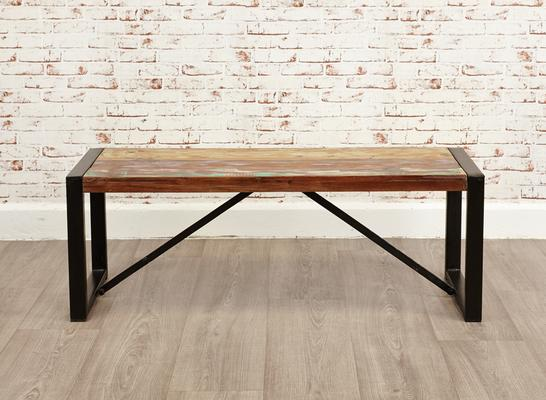 Shoreditch Small Rustic Dining Bench Reclaimed Wood
