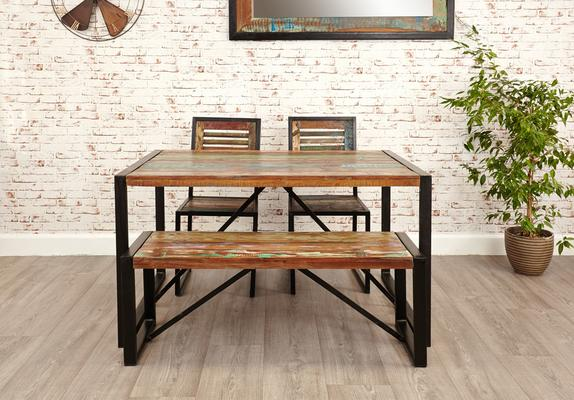 Shoreditch Small Rustic Dining Bench Reclaimed Wood image 3