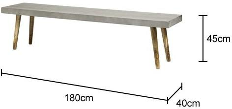 Concrete Top Bench with Mango Wood Legs image 2