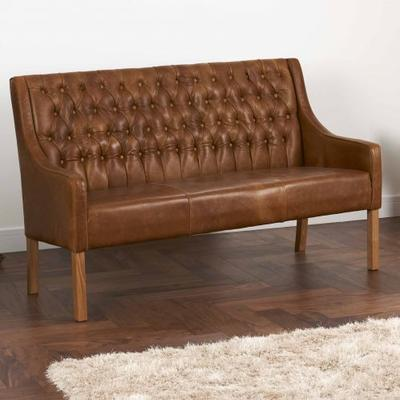 Simpson Handmade Leather Bench Buttoned