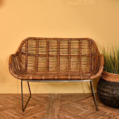 Toba Rattan Bench with Iron Legs image 2