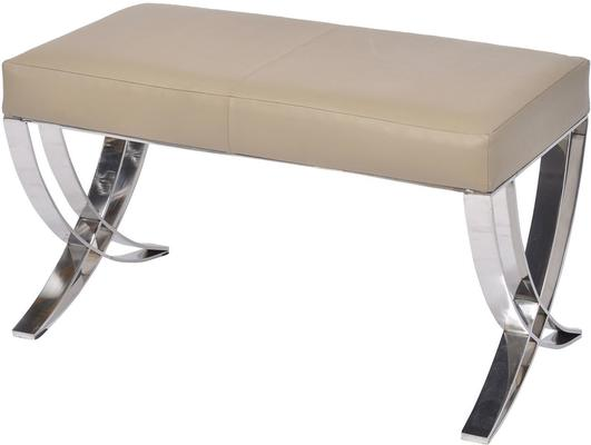 Ecclestone Beige Leather Bench with Steel Frame