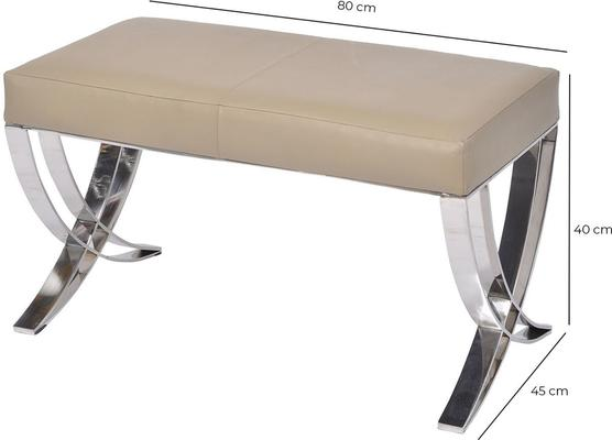 Ecclestone Beige Leather Bench with Steel Frame image 2