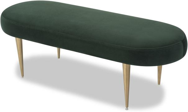 Jules Velvet Bench Green or Pebble Colour