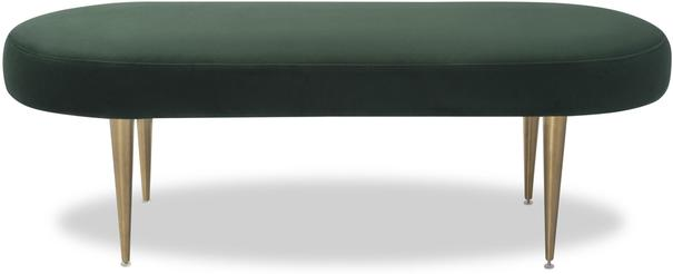 Jules Velvet Bench Green or Pebble Colour image 2