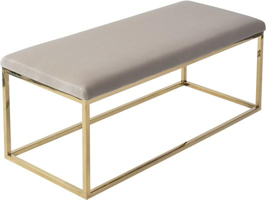 Loft Velvet and Metal Bench in Limestone or Grey image 5