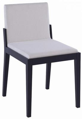 Cordoba Modern Dining Chair - Black Wenge with Off-White Fabric