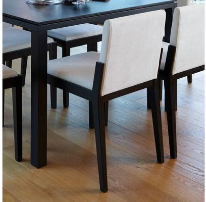 Cordoba Modern Dining Chair - Black Wenge with Off-White Fabric image 5