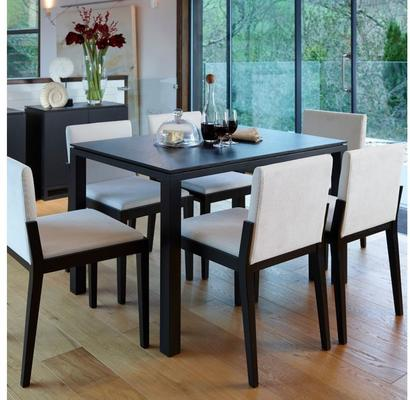 Cordoba Modern Dining Chair - Black Wenge with Off-White Fabric image 6