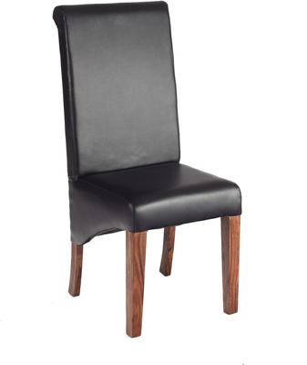 2 x Cube Sheesham Leather Dining Chair