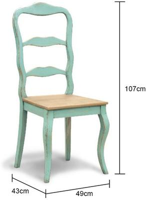 Distressed Turquoise Dining Chair French Hand-Painted image 2