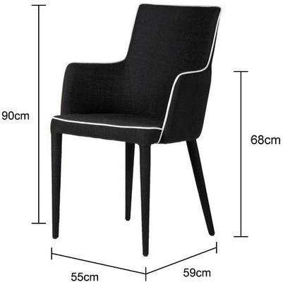 Black and White Upholstered Dining Chair image 2