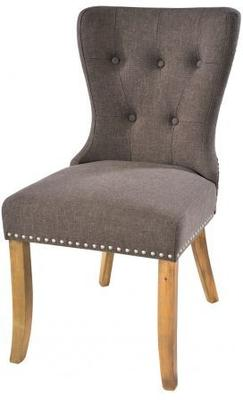 Button Back Dining Chair Dark Grey with Wooden Legs