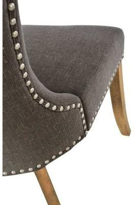 Button Back Dining Chair Dark Grey with Wooden Legs image 2