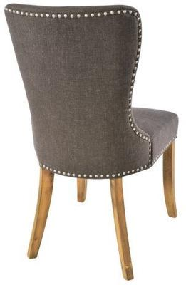 Button Back Dining Chair Dark Grey with Wooden Legs image 3