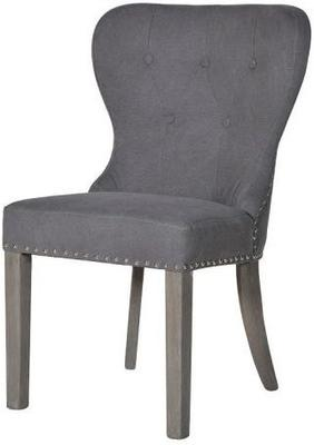 Button Back Dining Chair Dark Grey with Wooden Legs image 4