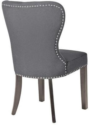 Button Back Dining Chair Dark Grey with Wooden Legs image 5