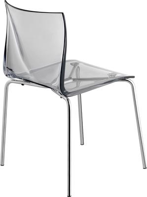 Mind Kitchen and Dining Chair - Chrome Frame and Clear Seat