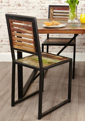Shoreditch Dining Chairs Reclaimed Wood - Set Of Two