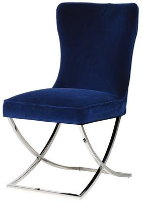 Blue Velvet and Stainless Steel Buttoned Dining Chair
