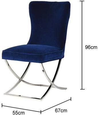 Blue Velvet and Stainless Steel Buttoned Dining Chair image 2