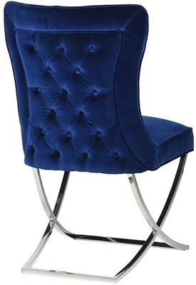 Blue Velvet and Stainless Steel Buttoned Dining Chair image 3