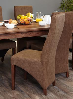 Shiro Walnut Upholstered Dining Chair Hazelnut Fabric