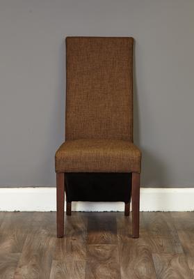 Shiro Walnut Upholstered Dining Chair Hazelnut Fabric image 2