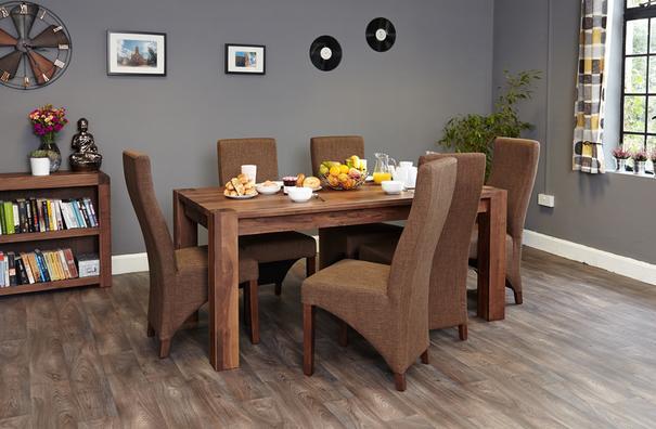 Shiro Walnut Upholstered Dining Chair Hazelnut Fabric image 4