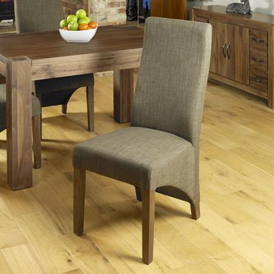 Shiro Walnut Upholstered Dining Chair Hazelnut Fabric image 6