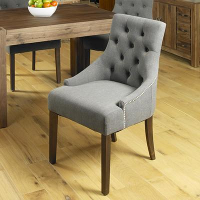 Shiro Walnut Dining chair Dark Grey Upholstered