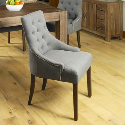 Shiro Walnut Dining Chair Dark Grey Upholstered Dining