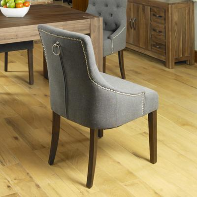 Shiro Walnut Dining chair Dark Grey Upholstered image 3