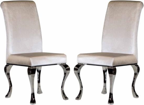 Pair of Pearl Velvet Dining Chairs