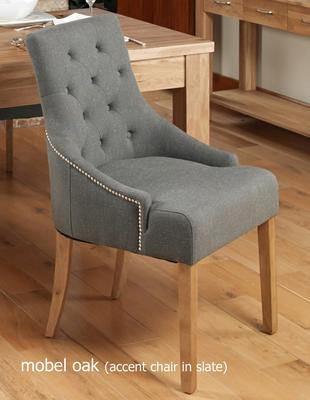 Slate Grey Upholstered Dining Chair with Oak Legs - Pack Of Two image 2