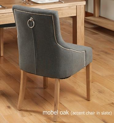 Slate Grey Upholstered Dining Chair with Oak Legs - Pack Of Two image 3