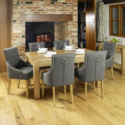 Slate Grey Upholstered Dining Chair with Oak Legs - Pack Of Two image 4
