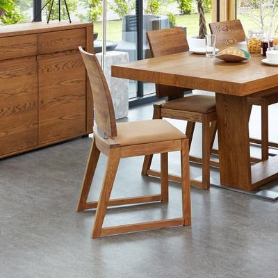 OLTEN Oiled Oak Modern Dining Chair - Mocha Fabric - Set Of 2