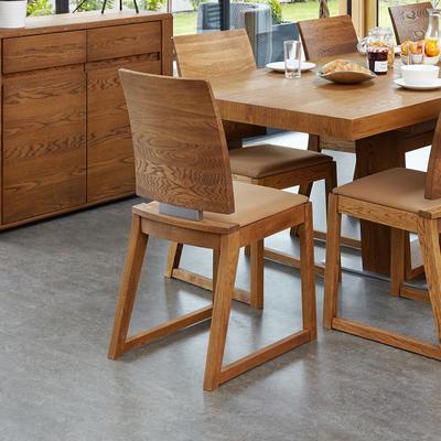 OLTEN Oiled Oak Modern Dining Chair - Mocha Fabric - Set Of 2 image 2