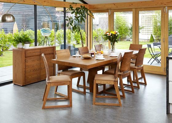 OLTEN Oiled Oak Modern Dining Chair - Mocha Fabric - Set Of 2 image 3