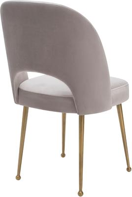 Erin Deco Velvet Fabric Dining Chair Brass Legs image 7