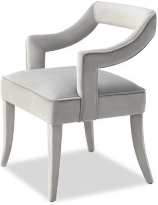 Calvin Velvet Dining Chair Art Deco Grey or Blue image 3