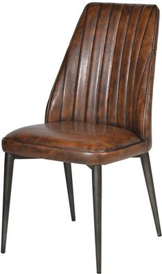 Vintage Brown Faux Leather Dining Chair Black Legs