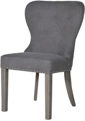 Grey Linen Button Back Dining Chair