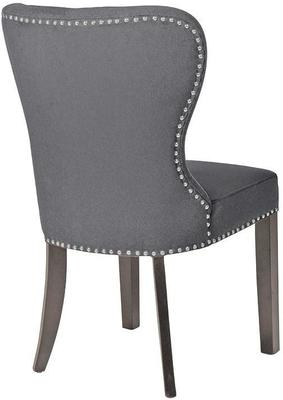 Grey Linen Button Back Dining Chair image 2