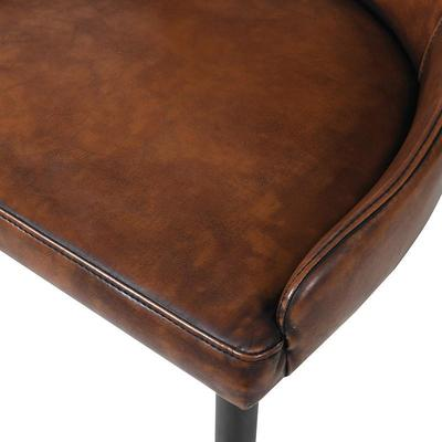 Vintage Faux Brown Leather Dining Chair image 2